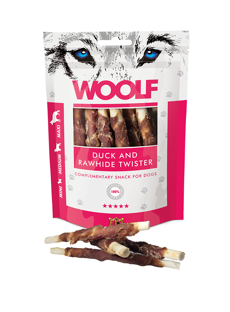 Woolf Duck And Rawhide Twister 100g